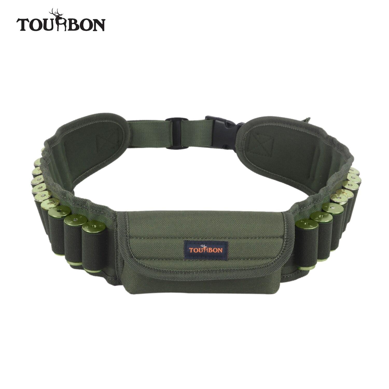 Tourbon Tactical Hunting Gun Accessories Shotgun 12/16/20 Gauge Ammo Cartridges Holder Belt w/Pouch Shooting 20 Rounds Bandolier